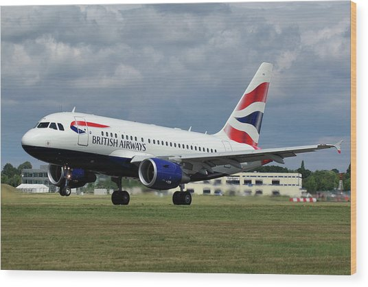 British Airways A318-112 G-eunb Wood Print