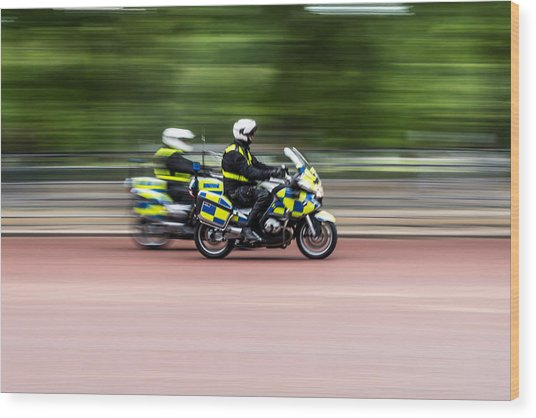 British Police Motorcycle Wood Print