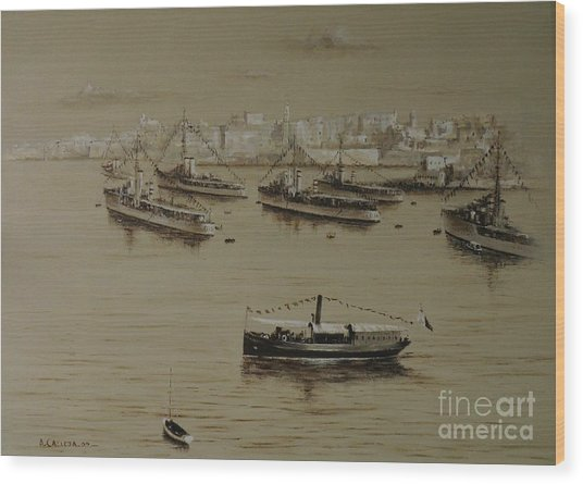 British Warships In Malta Harbour 1941 Wood Print