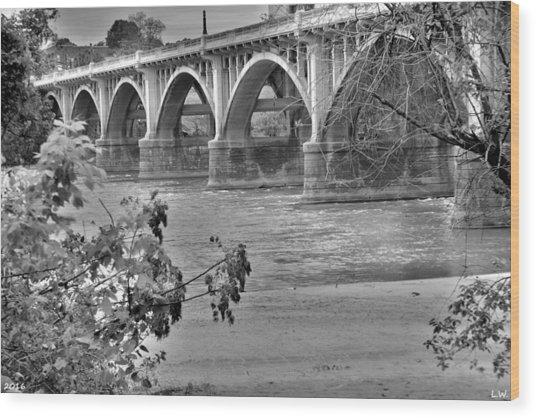 Gervais Street Bridge Black And White Wood Print