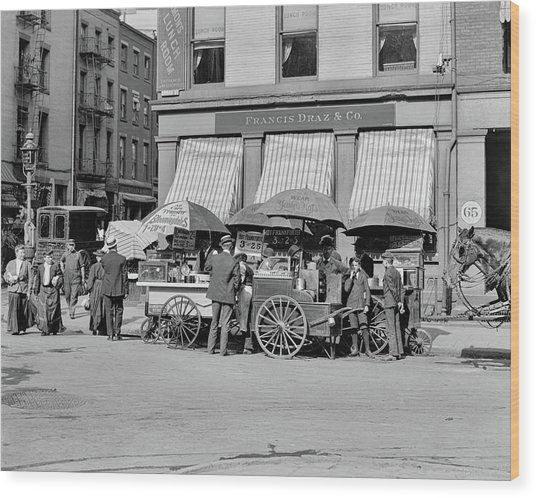 Broad St. Lunch Carts New York Wood Print