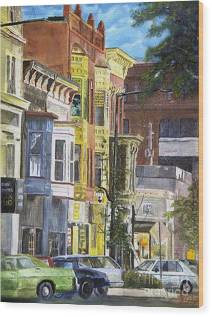 Broad Street Wood Print by CJ  Rider