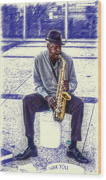 Broadway Blues Wood Print by John Haldane