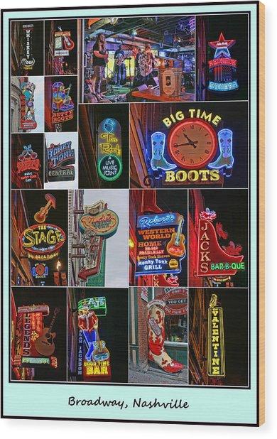 Broadway, Nashville - Collage # 2 Wood Print