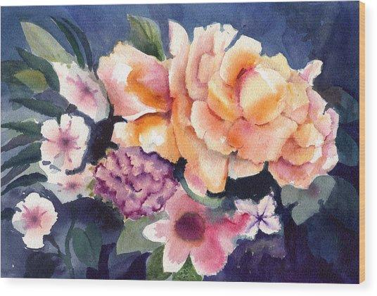 Brocade Flowers Wood Print