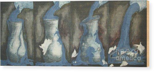 Broke Down- This Vase Cannot Hold Any More Wood Print by Sarah Goodbread