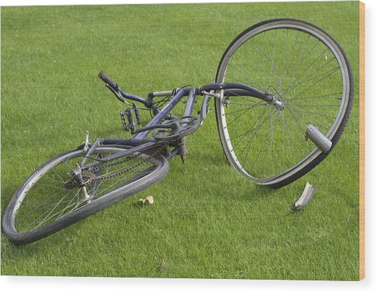 Broken Bicycle Wood Print by Carl Purcell
