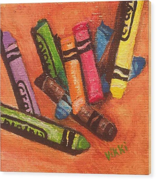 Broken Crayons Wood Print