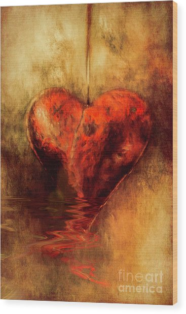 Broken Hearted Wood Print
