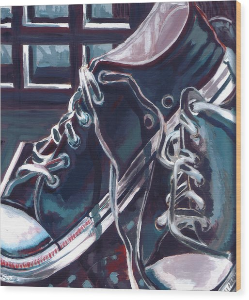 Broken-in Converse Wood Print