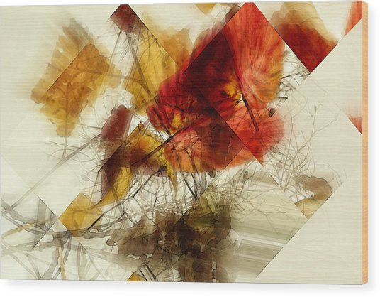 Broken Leaves Wood Print by Martine Affre Eisenlohr
