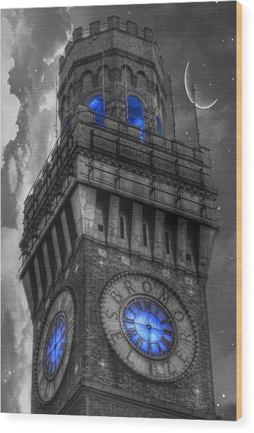 Bromo Seltzer Tower Baltimore - Blue  Wood Print