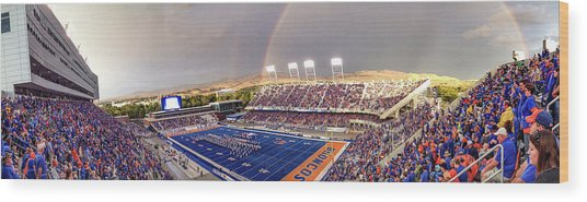 Bronco Stadium Panoramic Wood Print by Lost River Photography