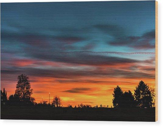 Broncos Sunset In Denver Wood Print