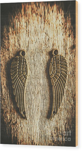 Bronze Angel Wings Wood Print