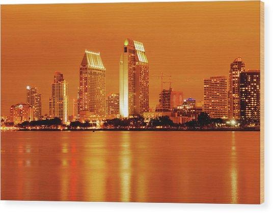 Bronze San Diego Skyline Wood Print