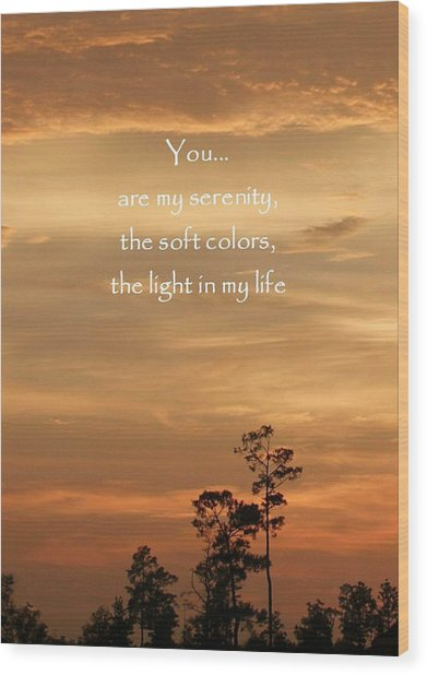 Bronzed Sunset Quote Wood Print
