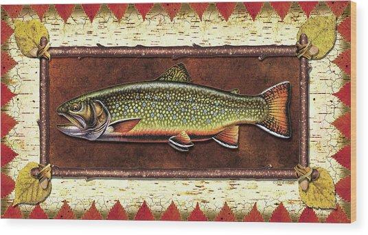 Brook Trout Lodge Wood Print