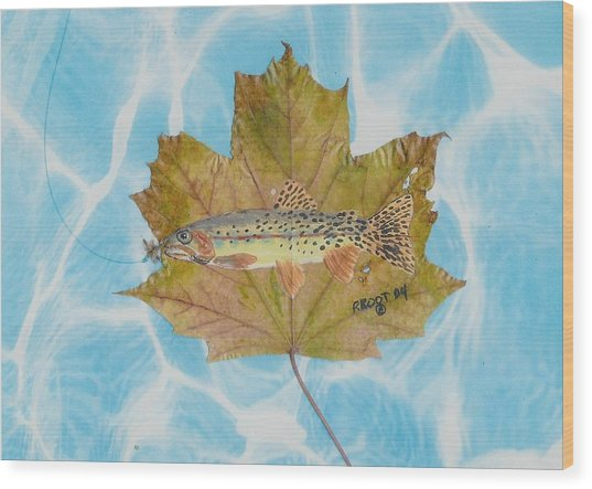 Brook Trout On Fly Wood Print