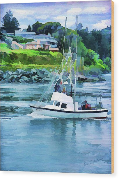 Brookings Boat Oil Painting Wood Print