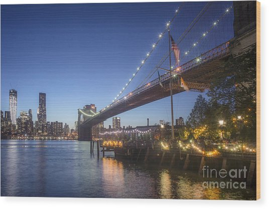 Wood Print featuring the photograph Brooklyn Brdige New York  by Juergen Held