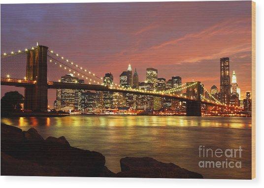 Brooklyn Bridge At Night Wood Print by Holger Ostwald