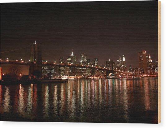 Brooklyn Bridge At Night Wood Print by Jason Hochman