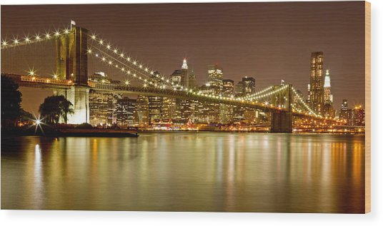 Brooklyn Bridge At Night Panorama 10 Wood Print