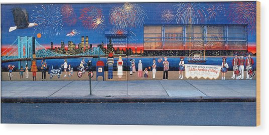 Brooklyn Bridge Fireworks Wood Print