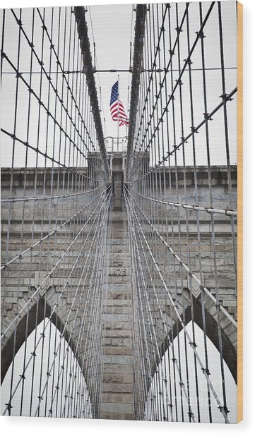 Brooklyn Bridge Flag Wood Print