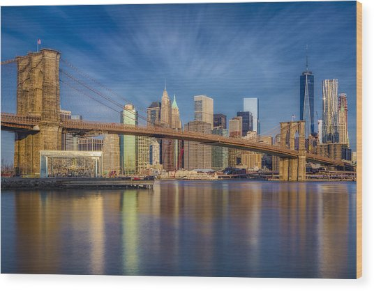 Wood Print featuring the photograph Brooklyn Bridge From Dumbo by Susan Candelario