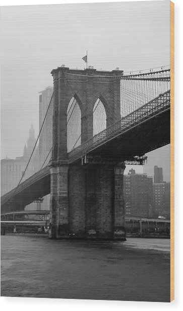 Brooklyn Bridge In A Storm Wood Print