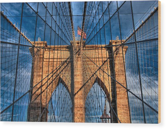 Brooklyn Bridge In The Golden Light Wood Print