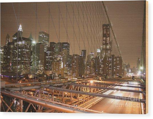 Wood Print featuring the photograph Brooklyn Bridge Night Sky by Wilko Van de Kamp