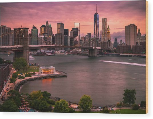Brooklyn Bridge Over New York Skyline At Sunset Wood Print