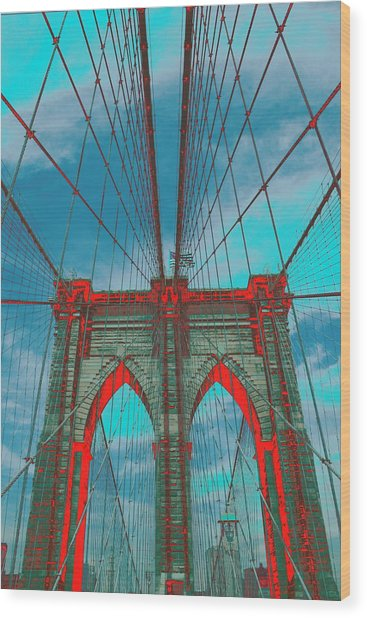 Brooklyn Bridge Red Shadows Wood Print
