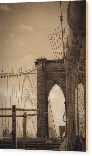 Brooklyn Bridge Span Wood Print by Patrick  Flynn
