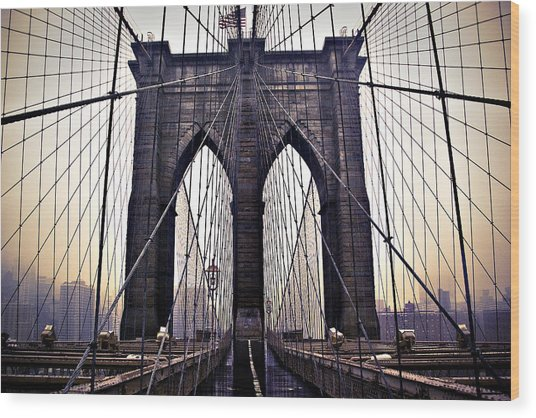 Brooklyn Bridge Suspension Cables Wood Print
