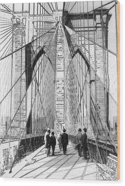 Brooklyn Bridge Vintage Photo Art Wood Print