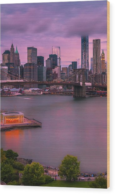 Brooklyn Bridge World Trade Center In New York City Wood Print