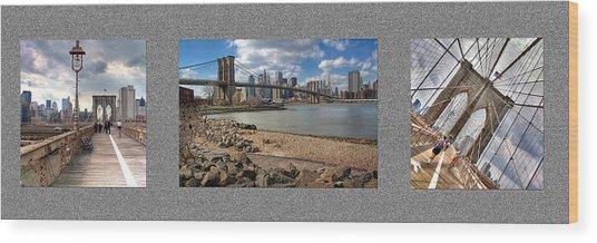 Brooklyn Bridge...triptych Wood Print by Arkadiy Bogatyryov