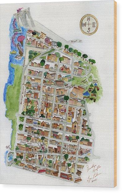 Brooklyn Heights Map Wood Print