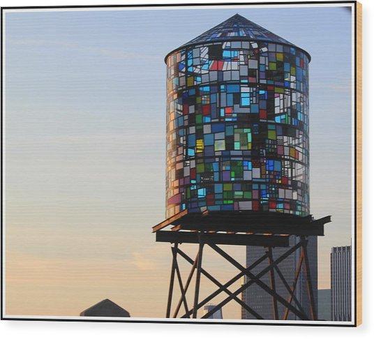 Brooklyn's Glowing Glass Water Tower - Public Art Wood Print
