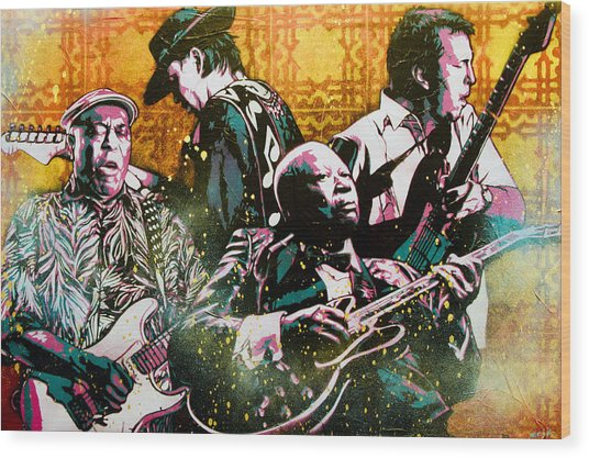 Brothers In Blues Wood Print