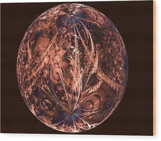 Brown Artificial Planet Wood Print