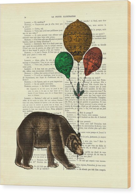 Brown Bear With Balloons Wood Print