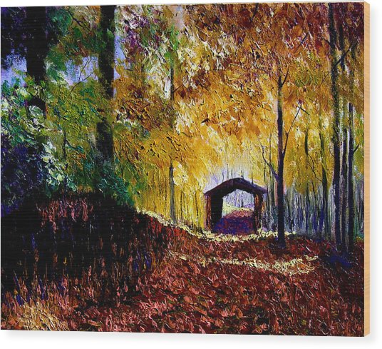 Brown County Covered Bridge Wood Print by Stan Hamilton