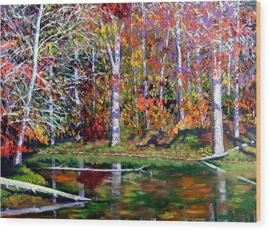 Brown County In Fall Wood Print by Stan Hamilton