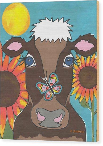 Brown Cow - Children Animal Art Wood Print
