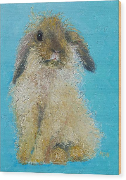 Brown Easter Bunny Wood Print